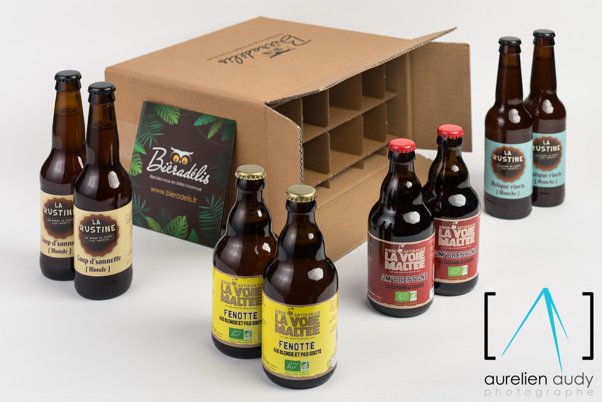 Photographe Professionnel Lyon Villeurbanne - produit packshot illustration Bieradelis entreprise corporate bière