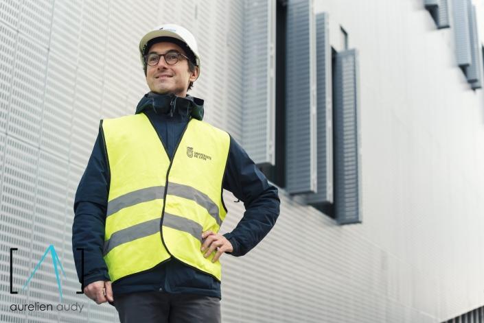 Aurélien Audy - Photographe Lyon Villeurbanne - portrait chantier ouvrier travaux communication - Campus LyonTech - la doua